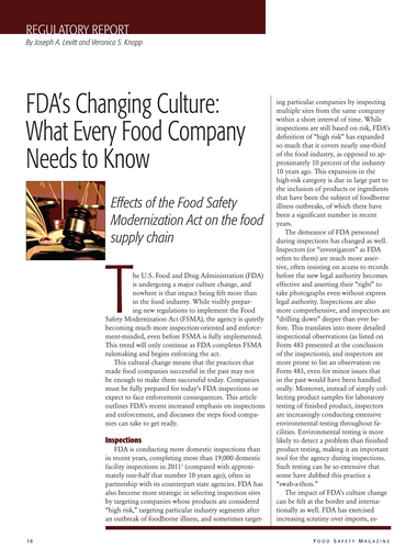 Food Safety Magazine, April/May 2013 - Page 16-17