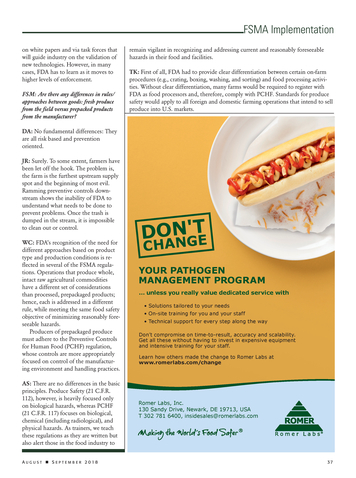 Food Safety Magazine - August/September 2018 - Page 36-37